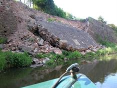 Collapsed wall at bridge 41 near Congleton